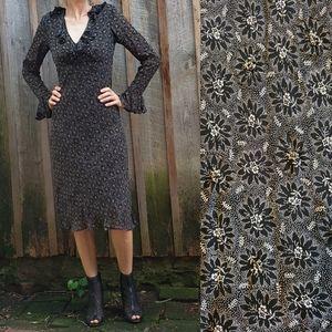 90's midi dress/ Dark Ditsy Floral/ Gypsy Witch